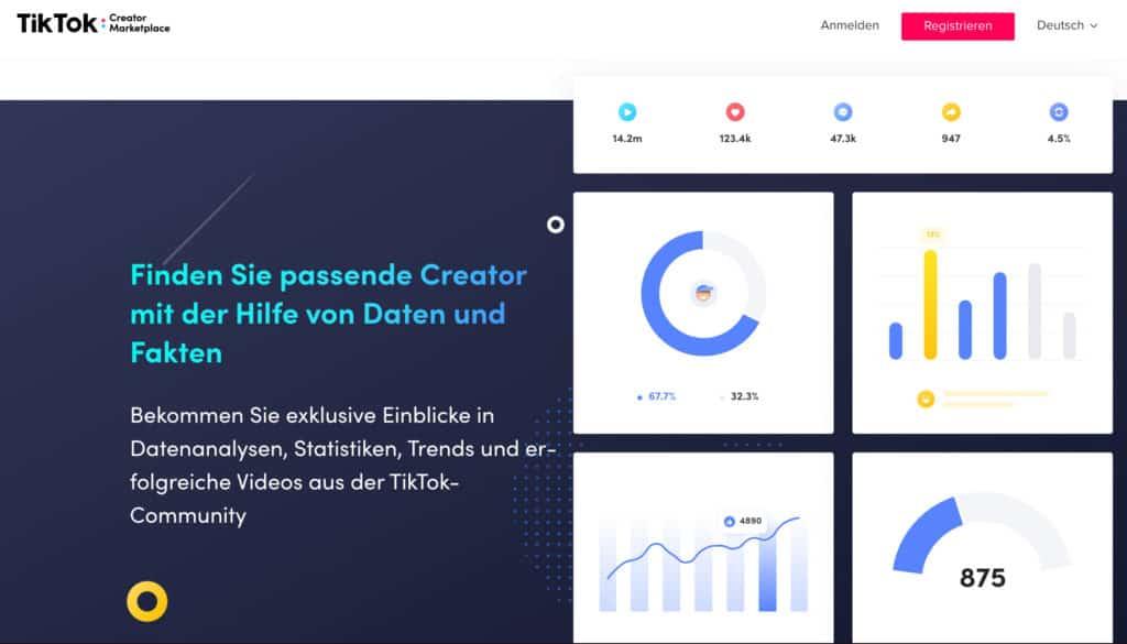 Die Website des TikTok Creator Marketplace